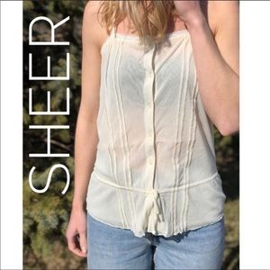Tops - Sheer Button Down Top
